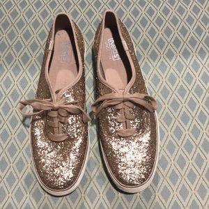 Keds champagne glitter platform sneakers